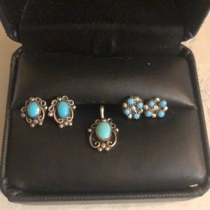 Vintage Turquoise set in Silver Necklace & 2 pr.